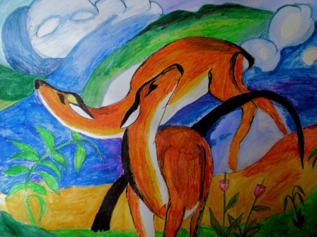 Title: A deer dance 2010 Yet another Franz Marc copy made for fun. Gifted to my parents DinA3 Aquarelle and Pencils *given away