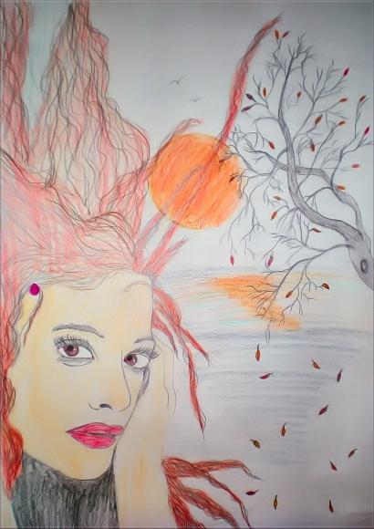 Title: Autumn Facial Study Pencil colors 2010 Din A3