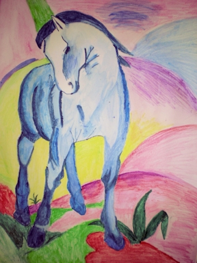 Title: Blaues Pferd 2010 I had an argument with my mother who did not believe that I could copy this picture by Franz Marc. I did...and gave it to her as a present. Its hanging in our stairway ever since DinA3 aquarelle pencil colors