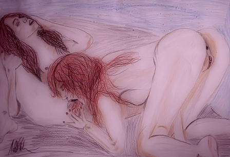 Sketchy drawing of 2 lesbians. I saw a stunningly intense piece of 2 girls getting down on each other that I had to make a drawing of it. DinA3 with Crayons 2013