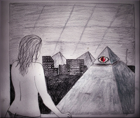 Title: My Secret Window Charcoal and Pencil Din A5 2009