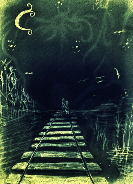 Title: Path Follow up of a 2 piece artwork chalk and pencil color 2010 Din A3