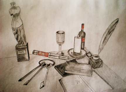 Stillife/Objectshading training. 2013 DinA4 Sanguine, pencil and charcoal