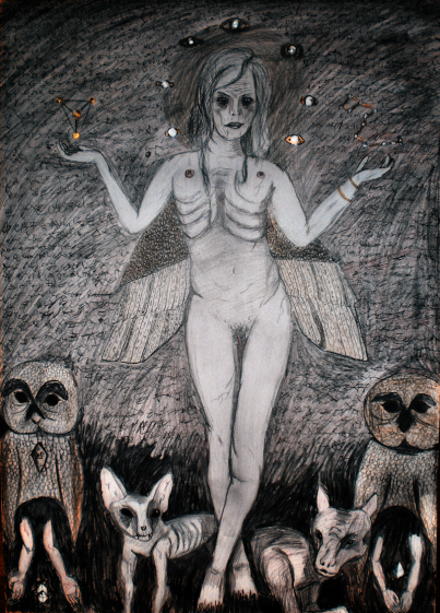 Title: Ishtar Alternate Title: Sumerian Cry Dimensions: 60*82cm Aquarelle/Acryl/Pencil/Pigments 2013
