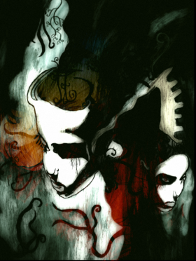 """2009 Copy of the Album Art for """"11 Dreams"""" by Mercenary Digitally enhanced DinA3 Colored pencils, watercolors on paper."""
