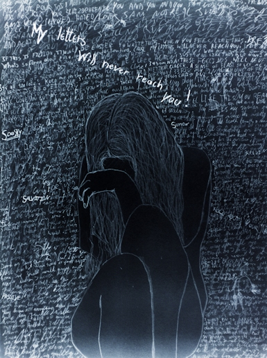 Title: Written Apologies Alternative Title: My letter will never reach you Din A4 Pencil and chalk aswell as Ink 2009