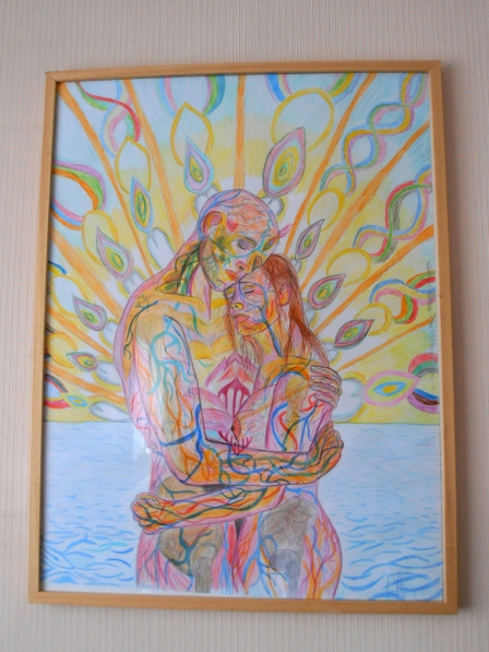 "Title: Sea of Love Copy of Alex Greys vastly superior Artwork ""Ocean of Love Bliss"" 2013 Colored Pencils I made this for our dining room"