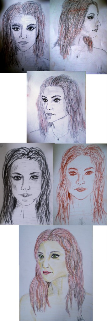 a portrait study From top to bottom, left to right: *Sketches in 3 different perspectives *Charcoal *Sanguine *Final Project (Colored Pencils) All Din A4 2013