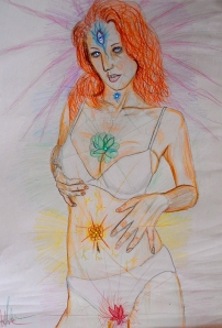 Title: Chakra Girl 2013 Din A 3 Colored Pencils